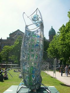 Awesome fish sculpture made from plastic bottles!
