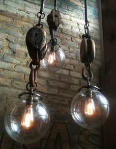 "edison bulbs and pulleys   "" http://indigo—soul.tumblr.com/ """