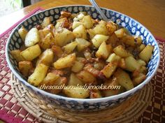 Fried Potatoes with a Bit of a 'Kick' - from The Southern Lady Cooks  (Recipe calls for a bit of flour, which gives the potatoes their crunch - plus cumin & chili powder!)