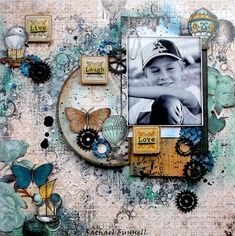 """Just in case you may have missed it I thought I'd very HAPPILY share here as wellmy video tutorial """" Live Laugh Love"""" layout for The Scrapbook Store using the Bo Bunny """"somewhere in time"""" range. Scrapbooking Vintage, Mixed Media Scrapbooking, Scrapbook Paper Crafts, Scrapbook Albums, Scrapbook Cards, Scrapbooking Ideas, Scrapbook Templates, Mix Media, Mini Albums"""
