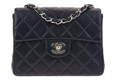 Chanel Vintage Black Lambskin Mini Square Flap Bag