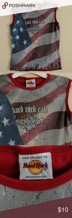 Kids Med Hard Rock Cafe Shirt Tee shirt from the Hard Rock Cafe Atlanta.  Red back. Size Medium. American flag across front background. Gently worn. Hard Rock Cafe Shirts & Tops Tank Tops