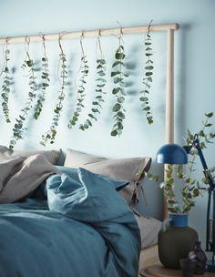 Kannst du dir ein entspannteres Ambiente zum Aufstehen vorstellen? Duftende Eukalyptuszweige hängen vom Kopfteil deines Bettes und sorgen für entspanntes Grün und eine duftende Umgebung zugleich.