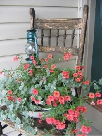 chair planter--I have the chair, I have the lantern and the enamel pan....just need to get the right plant this year