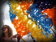 Olek's crochet balloon art