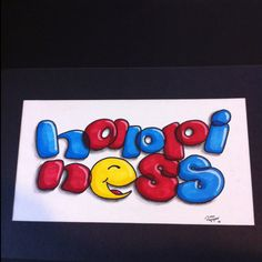 Happiness ‧ Prismacolor markers, charcoal, colored pencil ‧ This was an art college typography assignment ‧ Illustration by Andy Van Engen ‧  2000