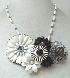 STUNNING VINTAGE ESTATE OOAK ONE OF A KIND ENAMEL FLOWER NECKLACE!!! G2269