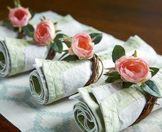 Rose Napkin Holder Place Around Tea Lights For Formal Glamour With A Fl Accent Wrap Twine Vintage Handkerchiefs Wedding Sendoff