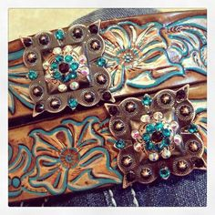 Items similar to DEPOSIT Custom Painted Bling Cowgirl Belt with Conchos on Etsy Cowgirl Belts, Gypsy Cowgirl, Cowgirl Chic, Cowgirl Bling, Western Belts, Cowgirl Style, Western Outfits, Western Wear, Country Girl Style