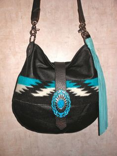 Pendleton Wool and Leather Bag Native American Purse 190$