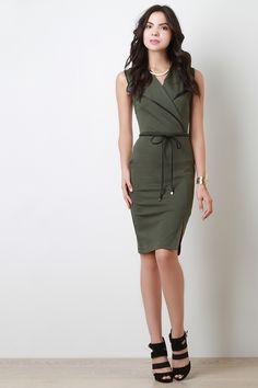Belted Sleeveless Bodycon Midi Dress | UrbanOG