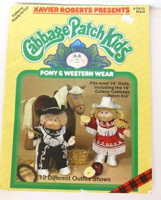 "Cabbage Patch Kids sewing patterns make Pony+ Western Wear 16"" doll  #7810 uncut #Plaid"