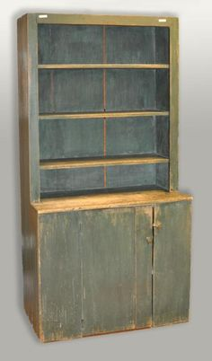 American Blue Painted Cupboard, 19th C.