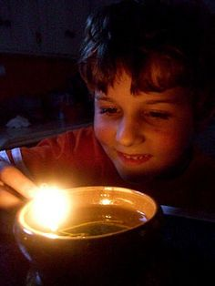 How to make an olive oil lamp - could have really used this information a week ago when the power went out!