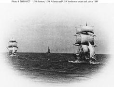 The 'Squadron of Evolution' undersail in 1889.  USS Boston, USS Atlanta, and USS Yorktown