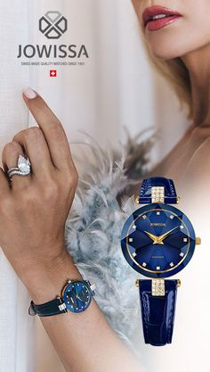 These elegant blue watches for women, Swiss Made by Jowissa, make great gifts for her. Find an elegant, high quality ladies Swiss watch right here. Gents Watches, Rolex Watches, Watches For Men, Ladies Watches, Great Gifts For Men, Gifts For Women, Gifts For Her, Ladies Bracelet Watch, Swiss Made Watches