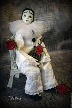 Купить Пьеро. Будуарная кукла. - белый, пьеро, авторская ручная работа, авторская кукла