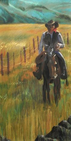 ARTFINDER: MY GIRLFRIEND KARI WOULD LOVE THIS PAINTING. Jenkins - Living in the American West is always an inspiration. The mat is dark brown in a gray-brown textured frame. Light reflects off the cowboy as he rides the edg...