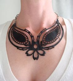 Paisley Stencil or Cut Out | laser cut leather statement necklace - paisley design in black