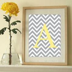 DIY 11 x 14 Custom Letter Art Print Chevron Initial Art Monogram Printable | eBay
