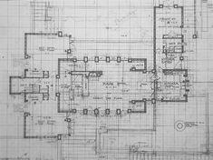 Plan. Storer House. 1923. Hollywood Hills, California. Frank Lloyd Wright. Textile block period
