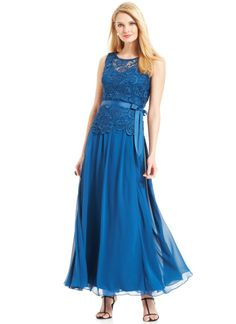 e509b4d81b6fc Alex Evenings Sleeveless Lacebodice Belted Gown in Blue (Peacock) Alex  Evenings