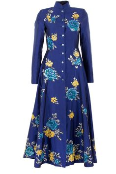 Cobalt blue roses embroidered jacket by PAYAL PRATAB. Shop now at perniaspopupshop.com