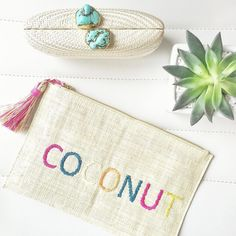 COCONUT  We just launched some fun new clutches at melanieauld.ca. I know lots of ladies were waiting on @jillian.harris's fun vacation clutch. #MAlifestyle