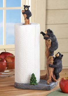 Northwoods Bears Paper Towel Holder - Log Cabin & Lodge Home Decorating Ideas