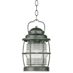 Kenroy Home Beacon Flint Traditional Clear Glass Lantern Pendant Light at Lowe's. With the Beacon Hanging Lantern, you could practically hear the scream of the seagulls and smell the salty air of coastal waters from the comfort of your Outdoor Hanging Lanterns, Outdoor Lighting, Lighting Ideas, Porch Lighting, Kitchen Lighting, Lantern Pendant Lighting, Pendant Lamp, Wire Chandelier, Led Lantern