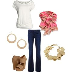 Basic white tee, pop of color in the scarf, nude shoes and jewelry (gold or tan)