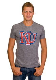 Kansas Jayhawks Vintage T-shirt-  Grey KU Retro Brand http://www.rallyhouse.com/shop/kansas-jayhawks-original-retro-brand-kansas-jayhawks-vintage-tshirt-grey-ku-retro-brand-4816590 $32.99