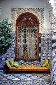 Riad Enija in Marrakech,Morocco It is an exotic boutique hotel, 280 years old that used to belong to a wealthy Moroccan silk merchant Moroccan Design, Moroccan Decor, Moroccan Style, Moroccan Bedroom, Moroccan Pattern, Moroccan Garden, Moroccan Furniture, Modern Moroccan, Ethnic Style