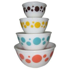Hazel-Atlas Polka Dot Milk Glass Mixing Bowls - Set of 4 ($550) ❤ liked on Polyvore featuring home, kitchen & dining, kitchen gadgets & tools, serving sets, milk glass bowl, polka dot bowl and dot bowl