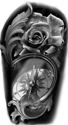Pin by naimm naim on as tattoo designs, sleeve tattoos, grey tattoo. Pocket Watch Tattoo Design, Clock Tattoo Design, Compass Tattoo Design, Rose Drawing Tattoo, Tattoo Sketches, Tattoo Drawings, Feminine Compass Tattoo, Compass Rose Tattoo, Tattoo Sleeve Designs