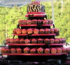 Sweet 16 zebra and pink birthday cake/cupcakes.