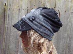 Slouchy Hat With Visor Cotton Women Beanie Hat Mom Beanie by PepiZ