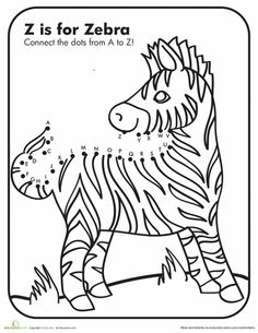 Worksheets: Dot to Dot A to Z Zebra