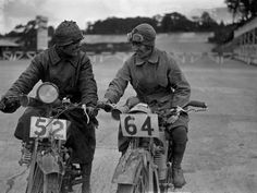 22nd August 1925:  Miss E Foley and Miss L Ball on their motorcycles at the International Six Days Reliability Trials at Brooklands race track.  (Photo by Kirby/Topical Press Agency/Getty Images)