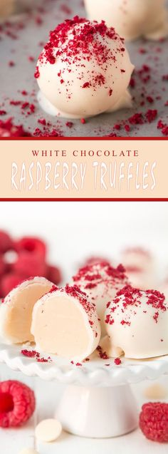 White Chocolate Raspberry Truffles - Checkout 15 Easy Christmas Desserts {Fudge, Truffles, Barks, Cookies and Candy}