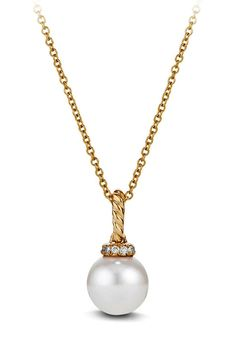 New David Yurman 'Solari' Pendant Necklace with Pearls and Diamonds in 18K Gold,Silver fashion online. [$800]newoffershop win<<