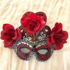 "Venetian mask, Day of the dead mask , Dia de los muertos, day of the dead, flower mask, skull mask, death mask, ""Glamorous Dead Mask"" by EthnicDrops on Etsy https://www.etsy.com/listing/475308238/venetian-mask-day-of-the-dead-mask-dia"