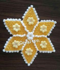Crochet Pillow Pattern, Crochet Patterns, Crochet Star Stitch, Crochet Kitchen, Crochet Flowers, Doilies, Paper Cutting, Diy And Crafts, Crochet Earrings