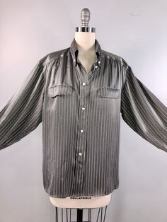 bbb065885a79 Gucci Vintage 80s 1980s Silk Blouse Shirt Work Grey Stripe Button Down Long  Sleeve 44 bust bust - Vintage Dress Closet