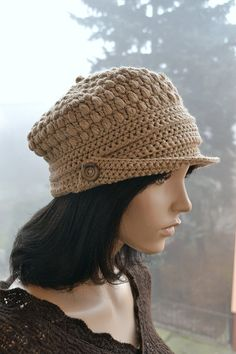 Crocheted  beanie Slouchy Hat  PEAKED CAP Winter by DosiakStyle