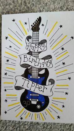 Hand drawn birthday guitar card