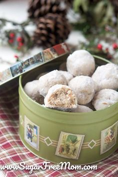 Paleo Pecan Snowball Cookies are #sugarfree, low carb, #glutenfree, grain free and now dairy free too! These are a perfect allergy friendly twist on a classic holiday recipe!