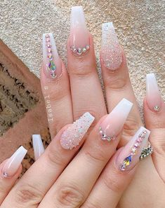 32 pretty and eye-catching nail art designs - - We've rounded up super pretty nail ideas and colors we're sure that will wow neither will a matching crisp-white mani, nail art designs with. Ongles Bling Bling, Rhinestone Nails, Bling Nails, Bling Nail Art, Beautiful Nail Designs, Cute Nail Designs, Acrylic Nail Designs, Dimond Nails, Art Fou