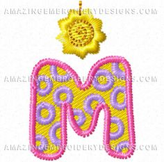 This free embroidery design from Amazing Embroidery Designs is the letter M.