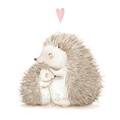Hedgehog Art, Hedgehog Drawing, Baby Hedgehog, Hedgehog Illustration, Illustration Sketches, Cute Animal Drawings, Cute Drawings, Watercolor Animals, Watercolor Paintings